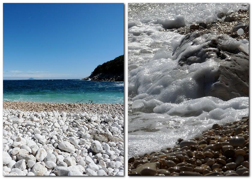 1_Kiesstrand in einer kleinen Bucht bei Ravni Labin Kroatien