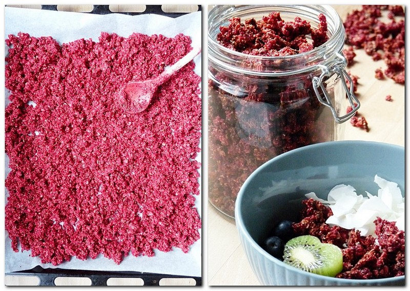 Selbstgemachtes Granola mit Rote Bete