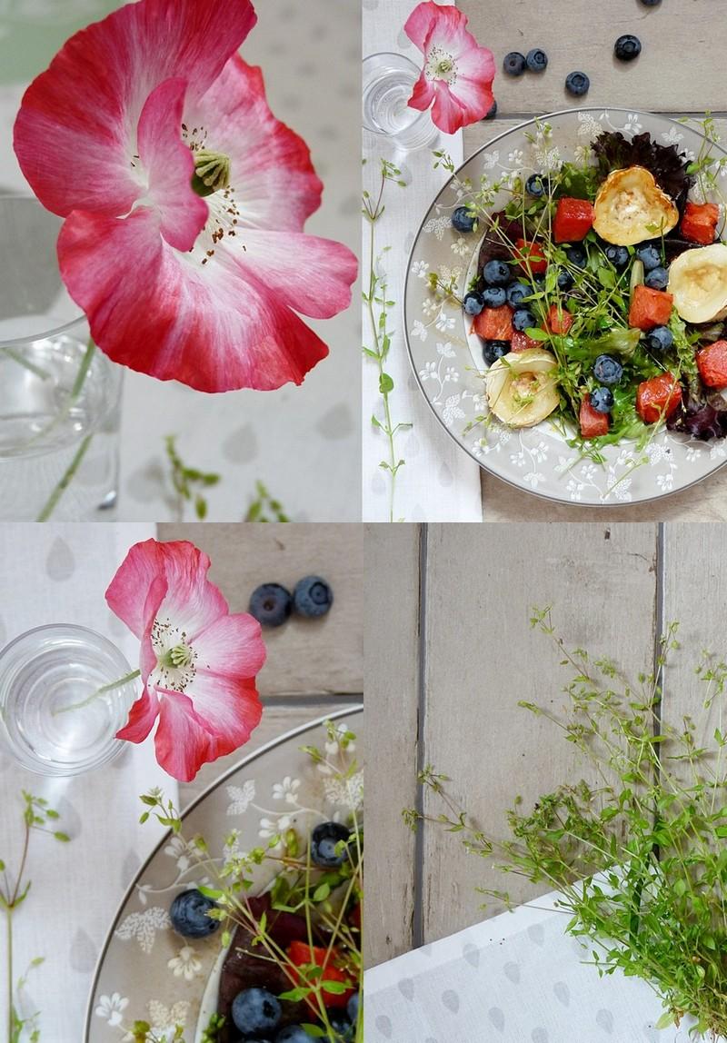 Salat mit Vogelmiere Ziegenkäse und Wassermelone