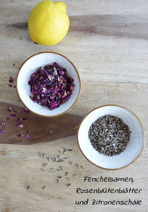Herbal Steam Mischung aus Fenchelsamen Rosenblättern und Zitronenschale