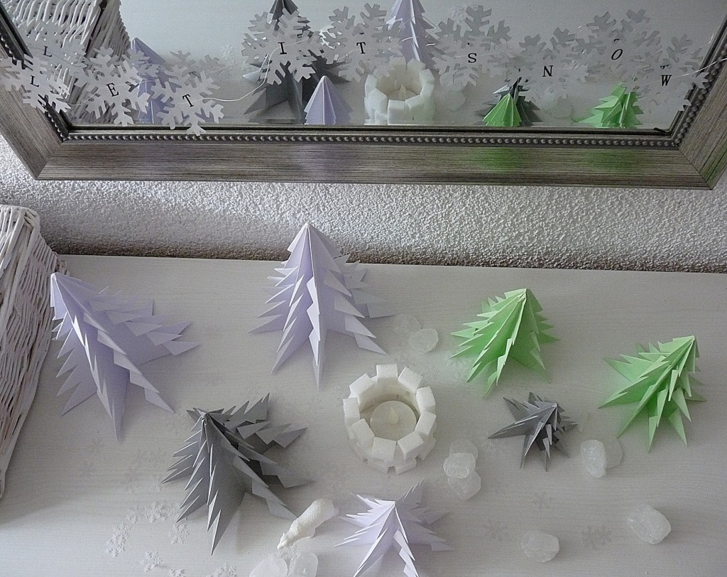 Let it snow - Origami Tannenbäume selber machen