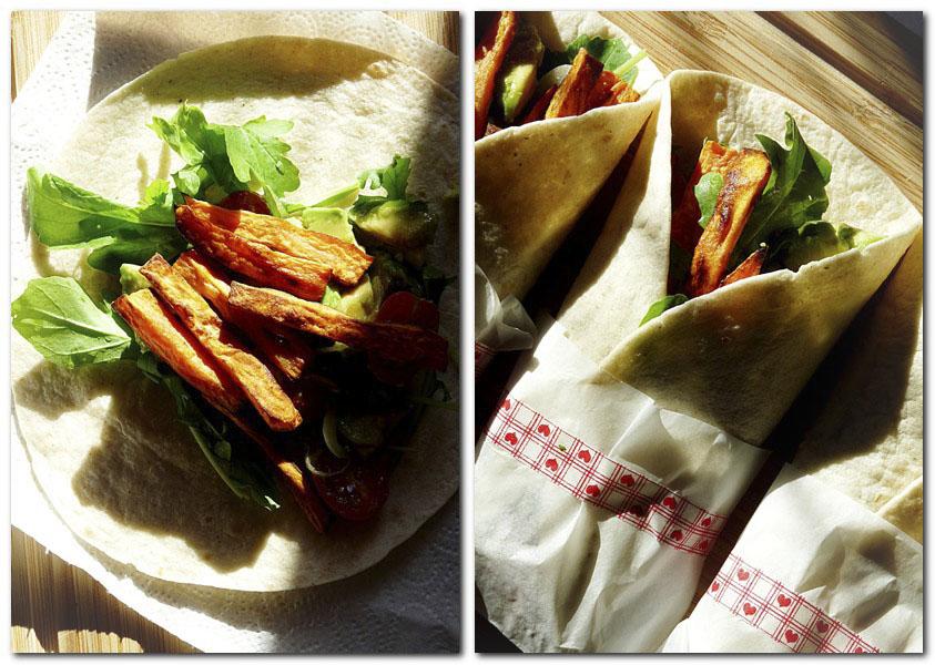 Wraps gefüllt mit Avocado, Rucola, Tomaten und Süsskartoffelpommes
