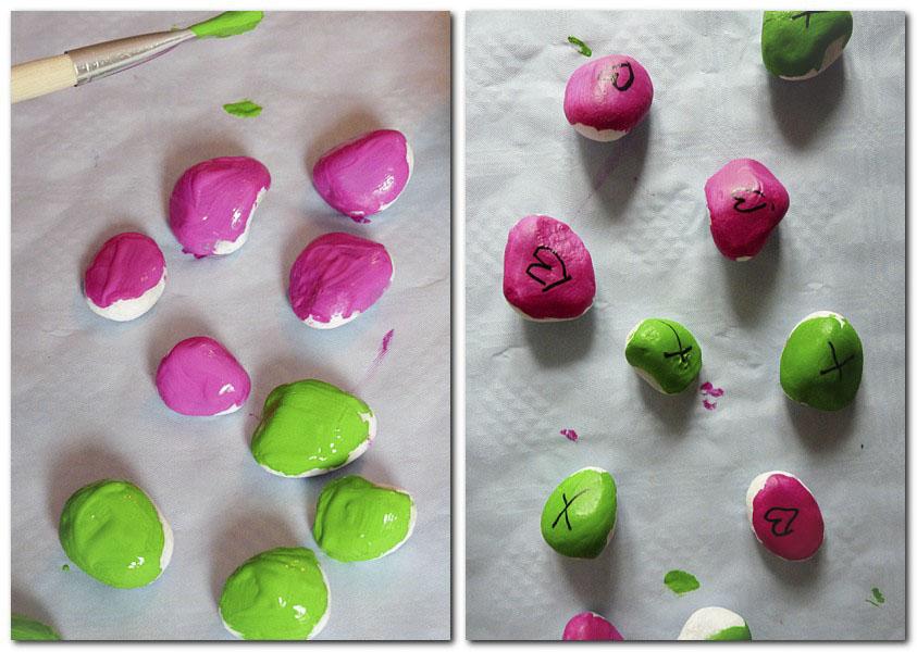 Steine bemalen mit Acrylfarben und Stiften
