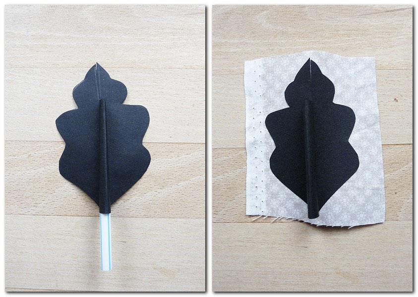 Blatt zusammenkleben und auf Stoff kleben