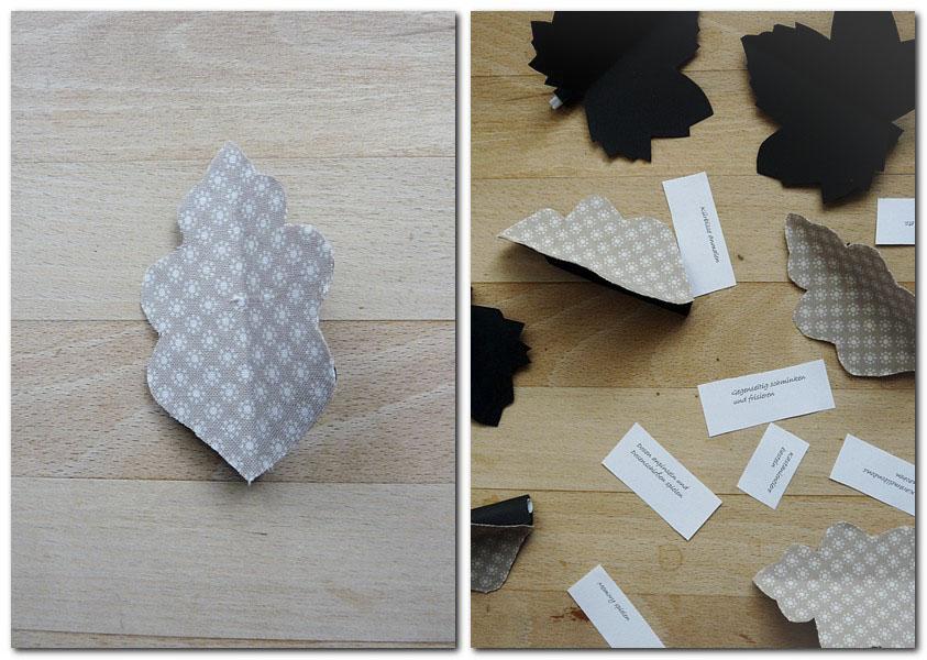 Fertige Blätter mit den Ideen füllen