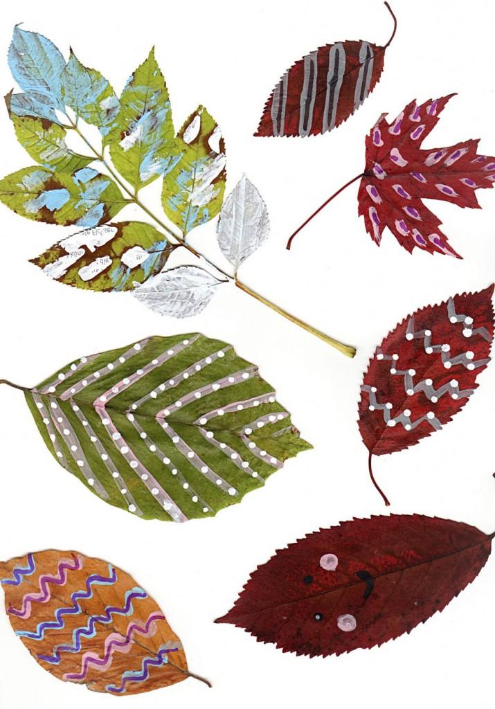 bemalte Herbstblätter einscannen