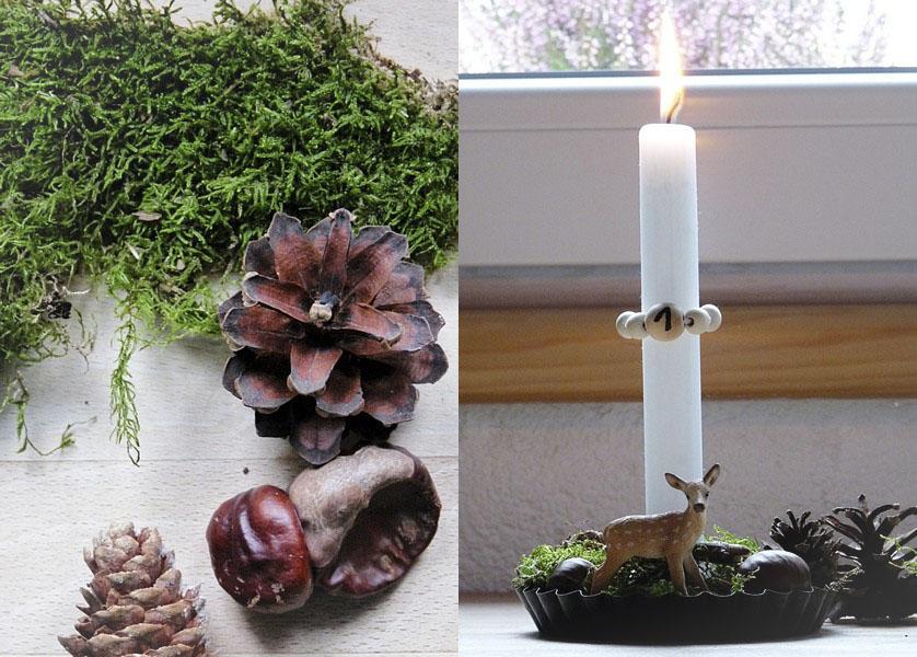 Die erste Kerze brennt am Last Minute Adventskranz