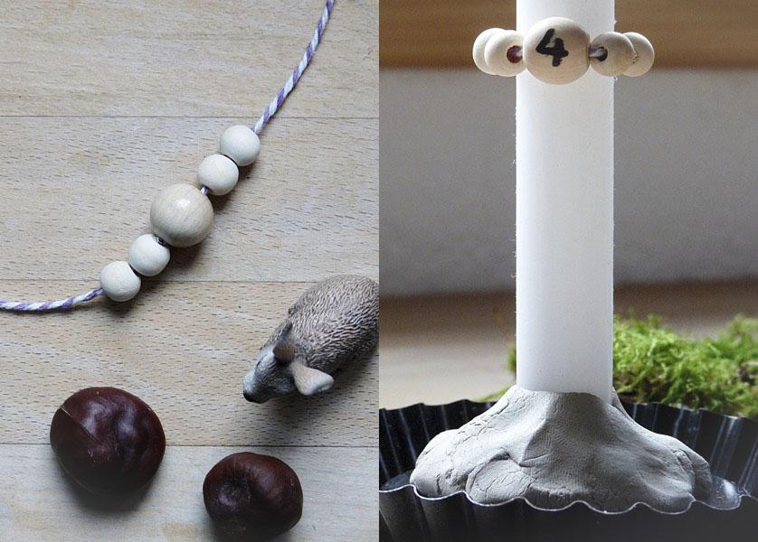 Kerzenhalter aus Ton und Holzkugel mit Zahl