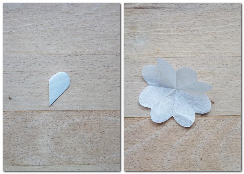 Anleitung für kleine Blumen aus Strohseide Schritt 2