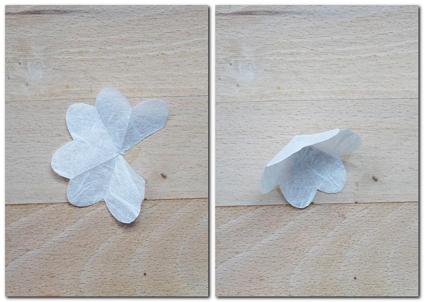 Anleitung für kleine Blumen aus Strohseide Schritt 3