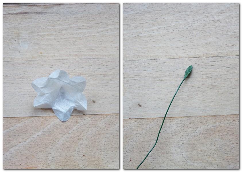 Anleitung für kleine Blumen aus Strohseide Schritt 4