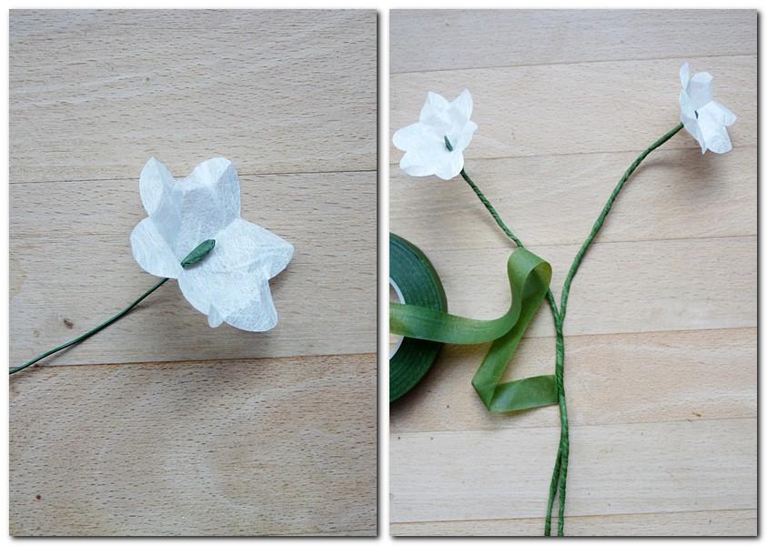 Anleitung für kleine Blumen aus Strohseide Schritt 5