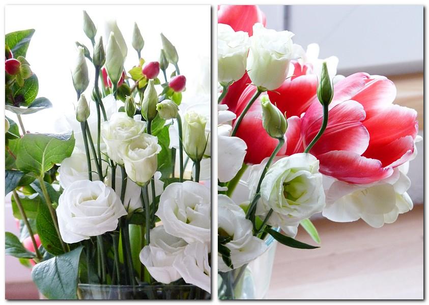 Februarstrauss mit Tulpen und Lisianthus