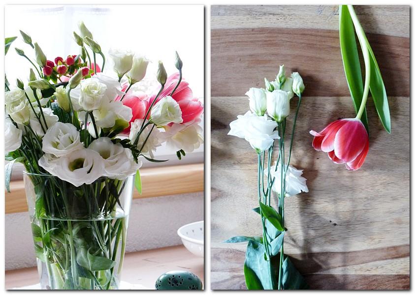 Lisianthus und Tulpen