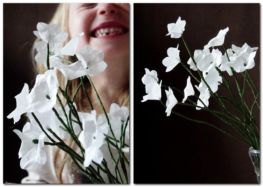 weisse Blumen aus Strohseide DIY
