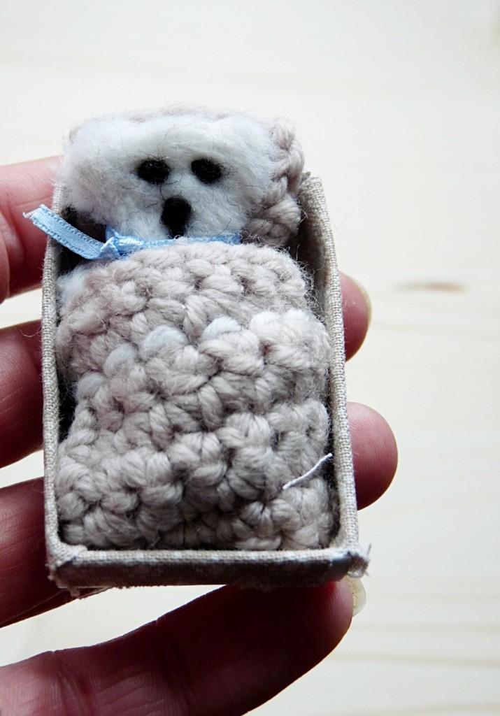 Minibärchen in einer Streichholzschachtel