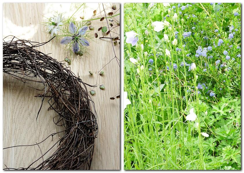 Ganz einfach einen Kranz binden und Glockenblumen aus dem Garten