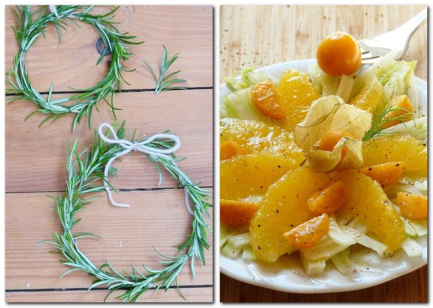 Rosmarinkränze selber binden und ein Rezept für gesunden Fenchel-Orangen-Salat
