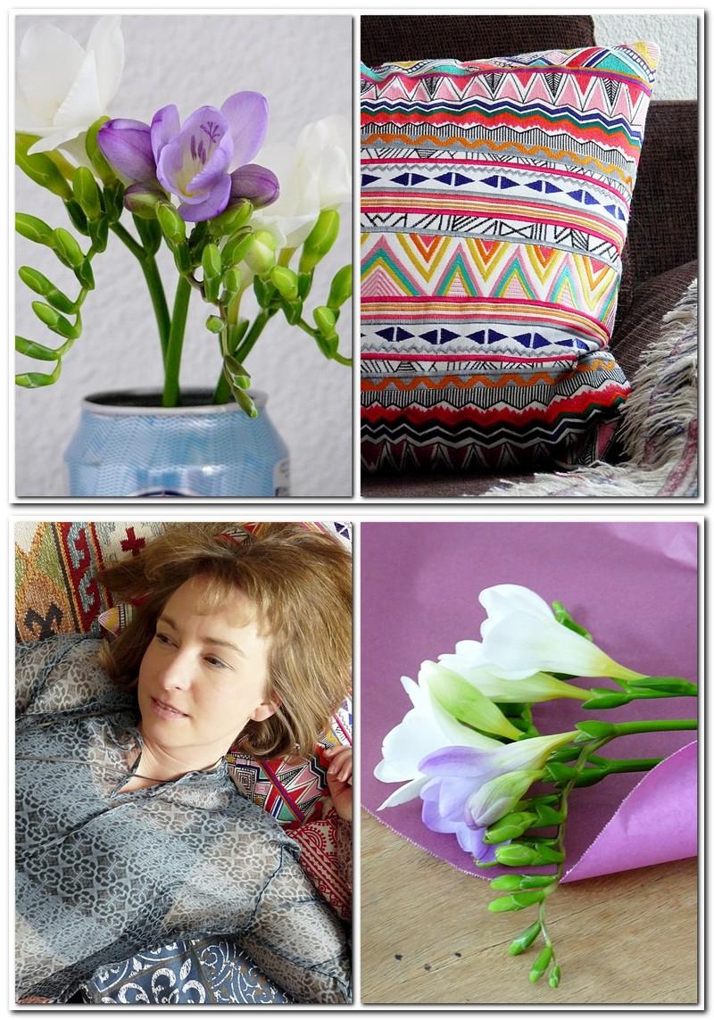 Kissen im Boho Style und Blumen in der Vase