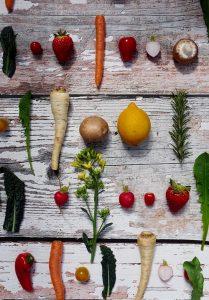 Gemüse auf Fotohintergrund Tapete