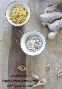 Herbal Steam Mischung aus Ringelblume Weidenrinde und Ingwerwurzel