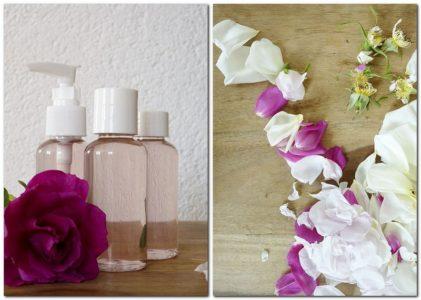 Rosenwasser mit verschiedenen Rosensorte